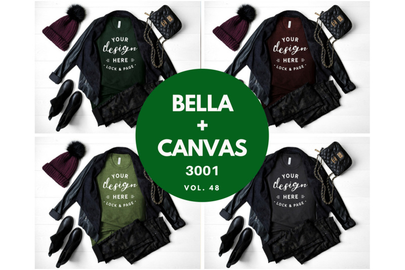 Free Fall Autumn Winter T Shirt Mockup Bundle Bella Canvas 3001 T-Shirt (PSD Mockups)