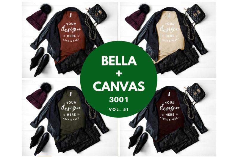 Free Bella Canvas 3001 Autumn Fall Winter Women's TShirt Mockup Bundle (PSD Mockups)