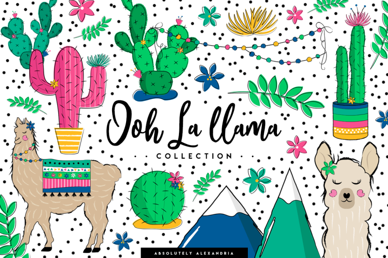 aa-ooh-la-llama-clipart-illustrations-and-seamless-paper-patterns-bundle