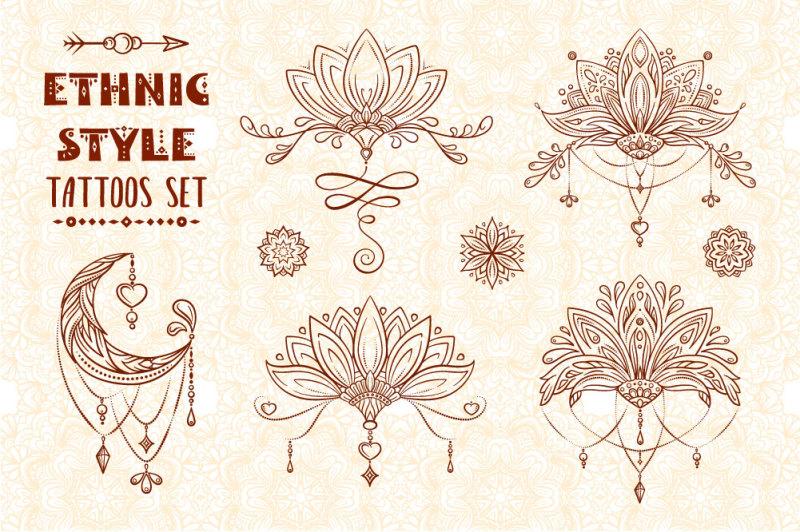ethnic-style-tattoos-set