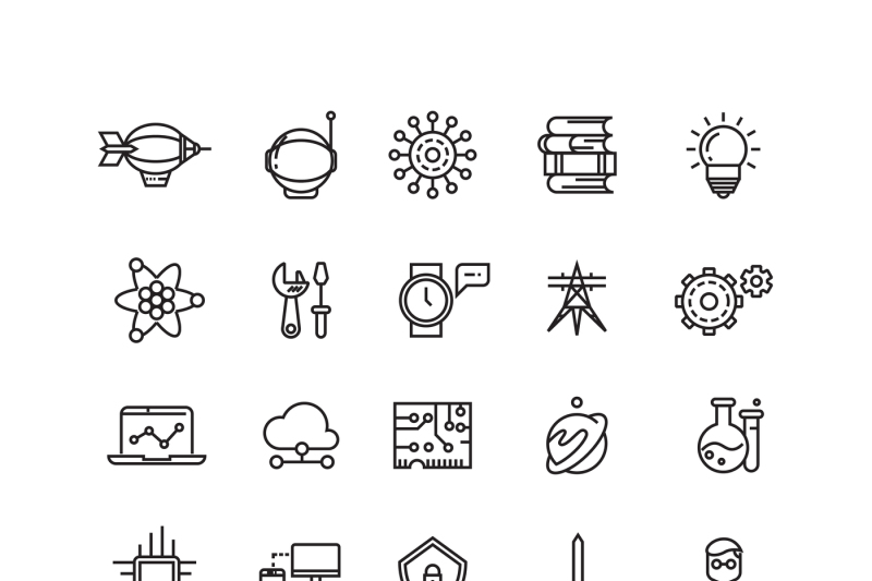 science-media-and-internet-thin-line-vector-icons