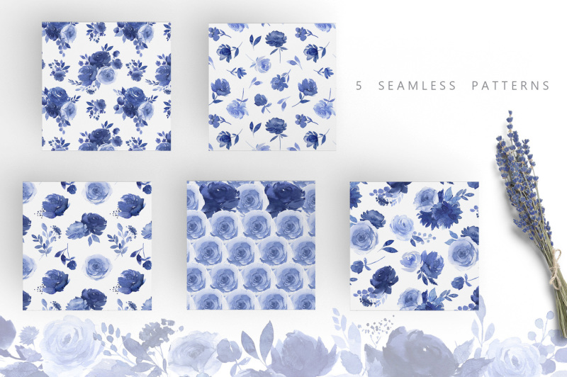 watercolor-blue-flower-collection