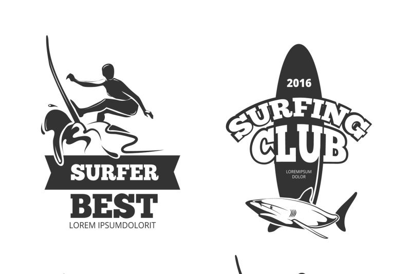 vintage-black-surf-graphics-emblems-and-labels-vector-set