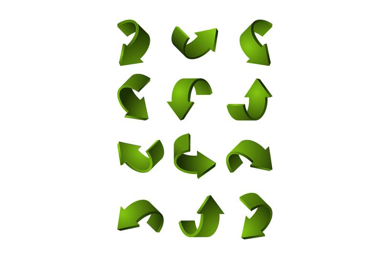 set-of-different-3d-arrows-green-color