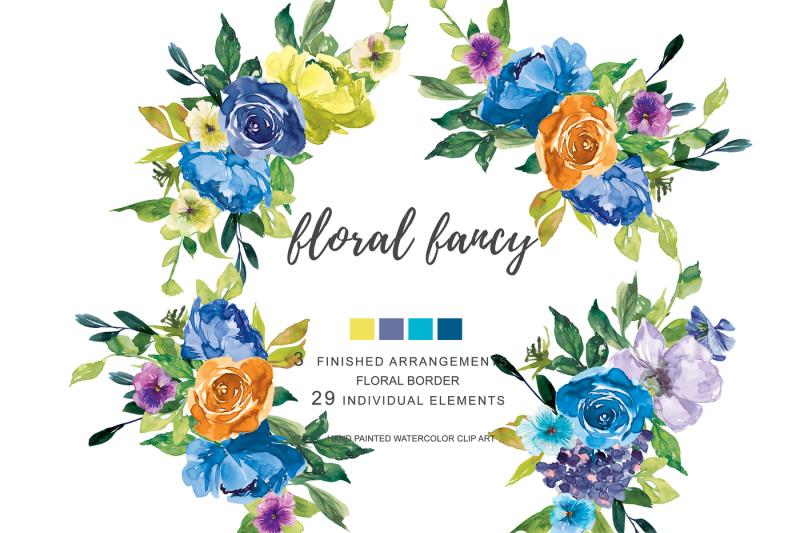 watercolor-soft-blue-lemon-purple-flowers-clip-art