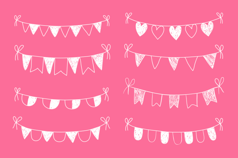 chalkboard-bunting-clipart-white-hand-drawn-doodle-flags-clip-art