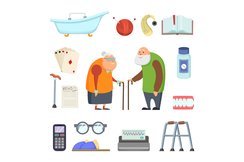 old-couple-with-assistants-tools-vector-illustrations-set-in-cartoon