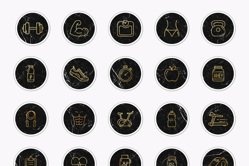 marble-and-gold-gym-instagram-icons