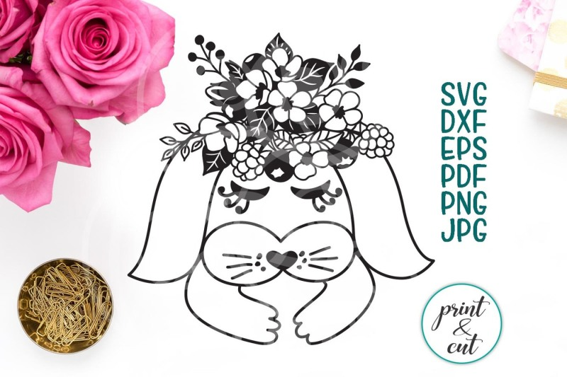 rabbit-face-svg-bunny-eyelashes-svg-with-flowers-spring-bouquet