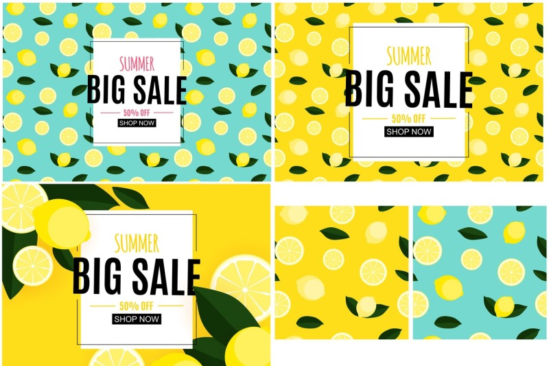 5-abstract-summer-sale-backgrounds-with-lemon-collection-set-vector-i