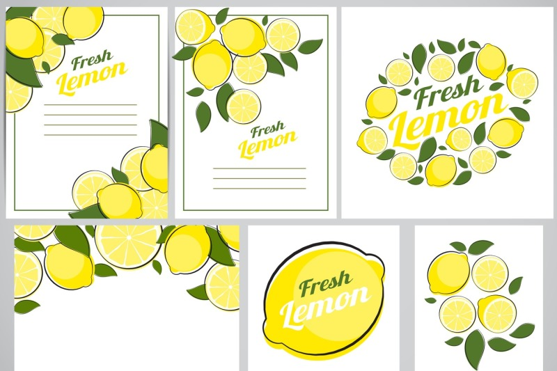 6-abstract-lemon-natural-backgrounds-collection-set-vector-illustrati