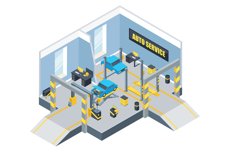 interior-of-auto-service-with-different-tools-and-cars