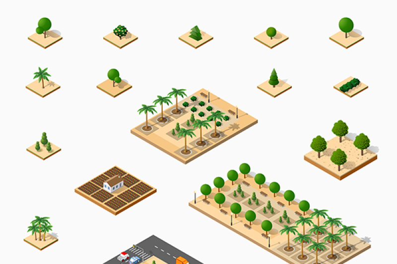 isometric-3d-set-park-with-trees