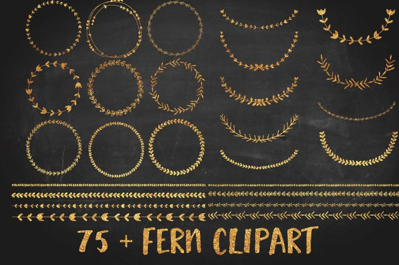 gold-foil-wreath-clipart-set