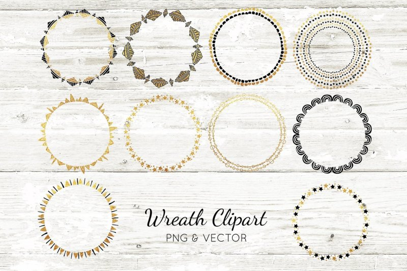 gold-foil-vector-wreath-clipart-design