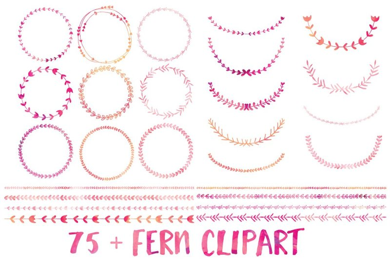pink-watercolor-wreath-laurel-and-border-collection