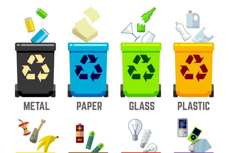 recycle-bins-with-different-types-of-waste