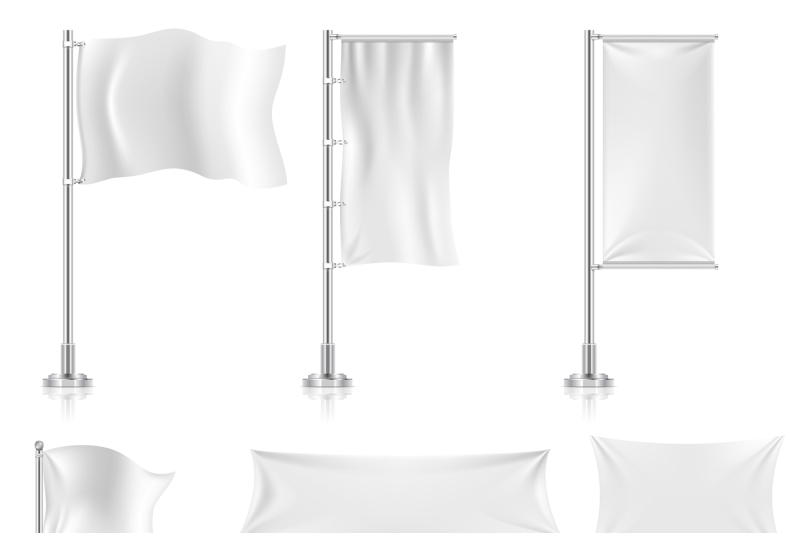 realistic-white-advertising-textile-flags-and-banners-vector-set