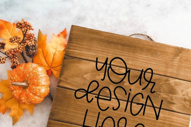 Free Fall Wood Sign Mock Up (PSD Mockups)
