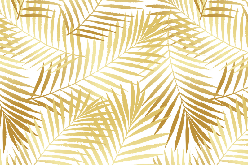 golden-summer-tropical-palm-tree-leaves-seamless-pattern