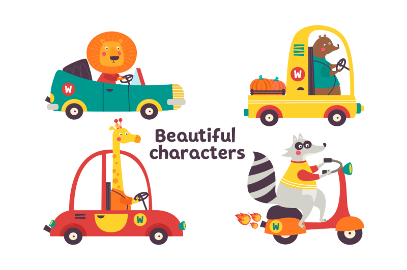 vector-set-funny-animals-in-different-cars