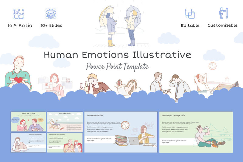 human-emotions-illustrative-template
