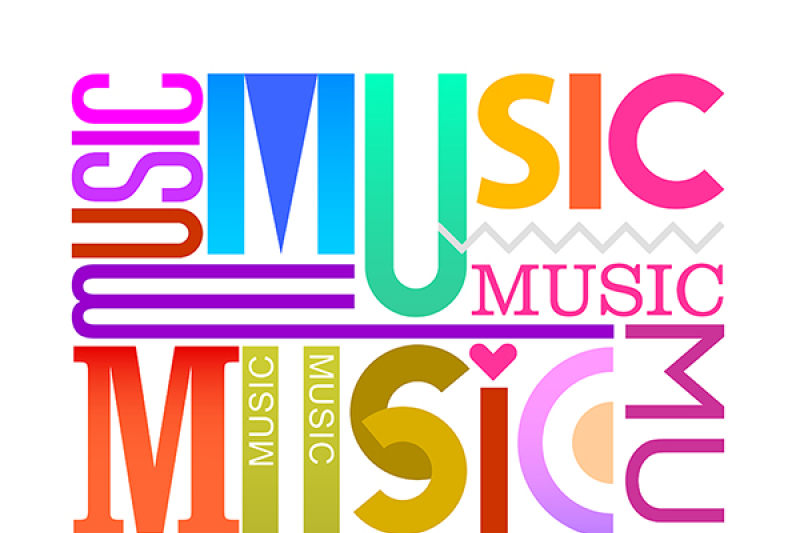 music-vector-text-design-5-options