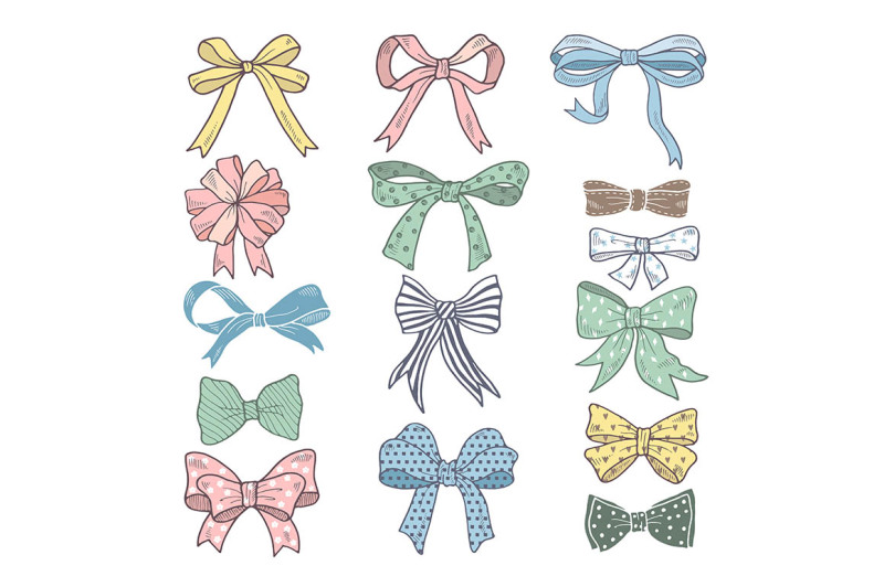holiday-bows-and-ribbons-in-cartoon-style