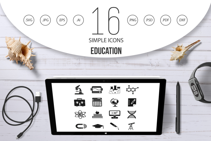 education-icons-set-simple-style