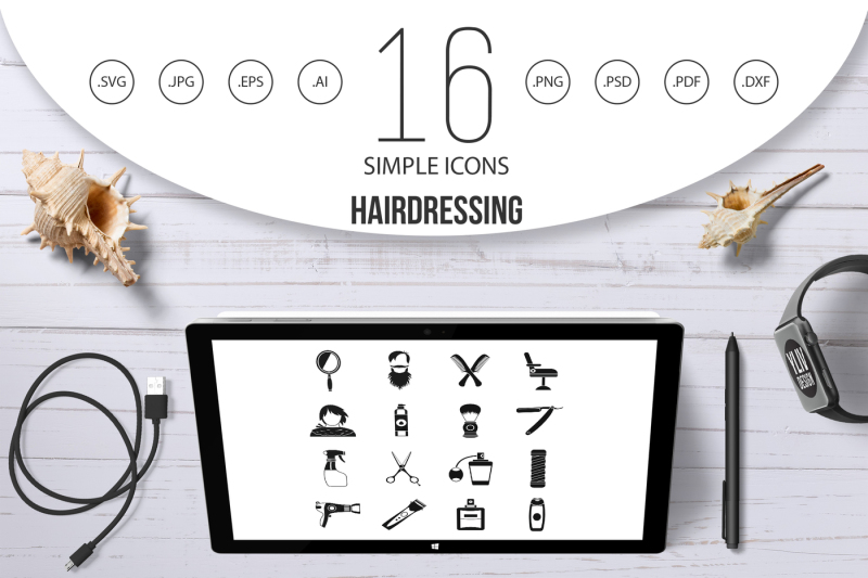 hairdressing-icons-set-simple-style
