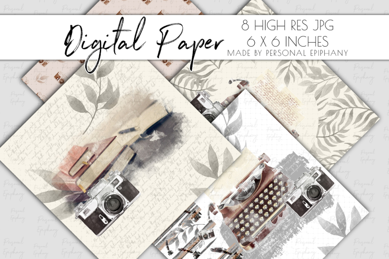 journal-digital-paper-watercolor-typewriter-cliparts-scrapbooking