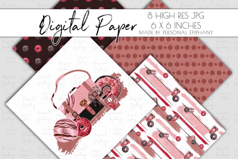 coffee-donut-digital-paper-coffee-background-pattern-scrapbooking