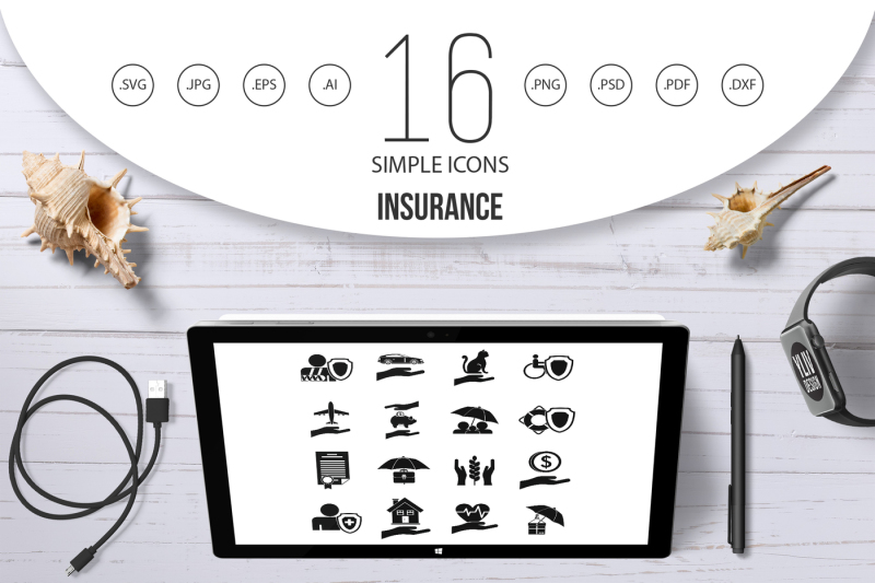 insurance-icons-set-simple-style