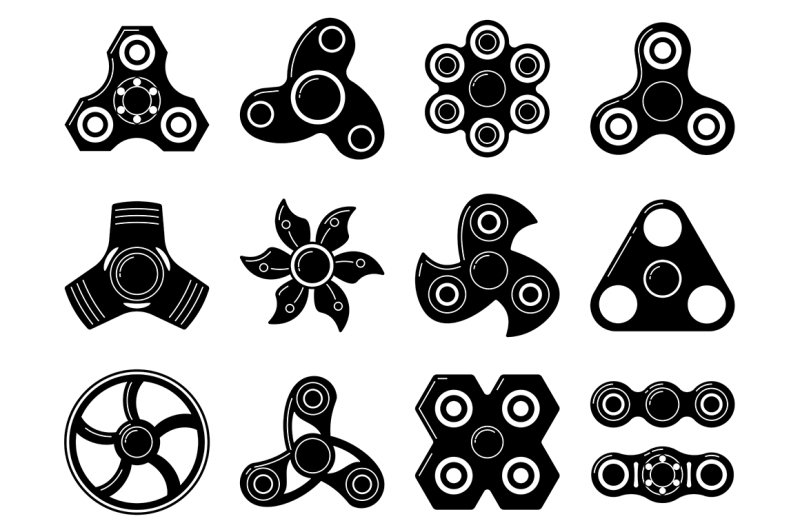 monochrome-illustrations-of-spinner-toys-at-different-shapes