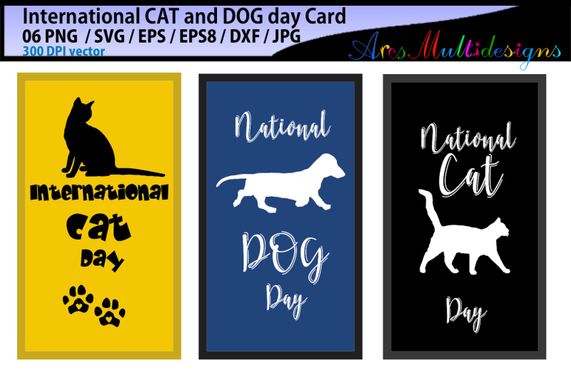 international-cat-day-international-dog-day-vector-cards
