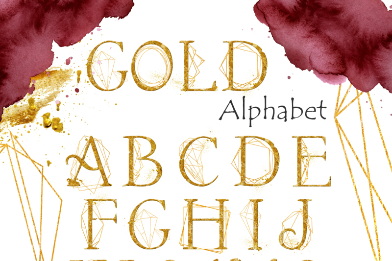burgundy-and-gold-watercolor-graphic-set