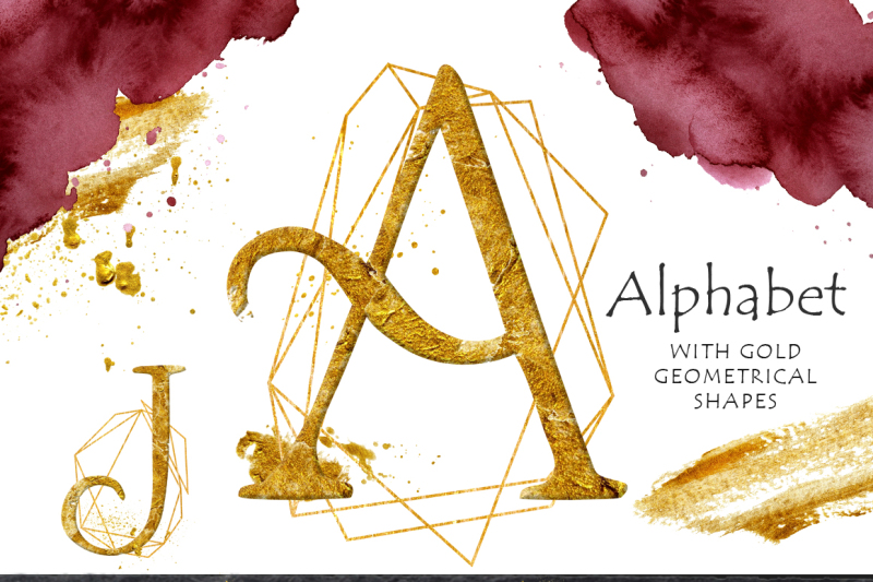 gold-alphabet-with-geometrical-shapes