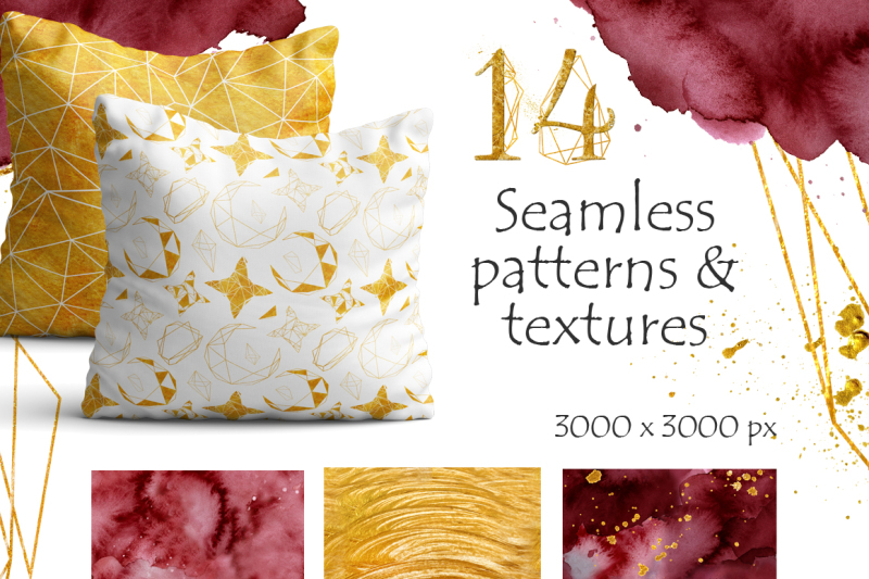 gold-and-burgundy-seamless-patterns-and-textures
