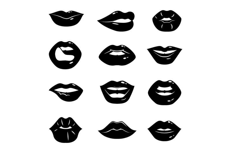 monochrome-illustrations-of-beautiful-and-glossy-female-lips