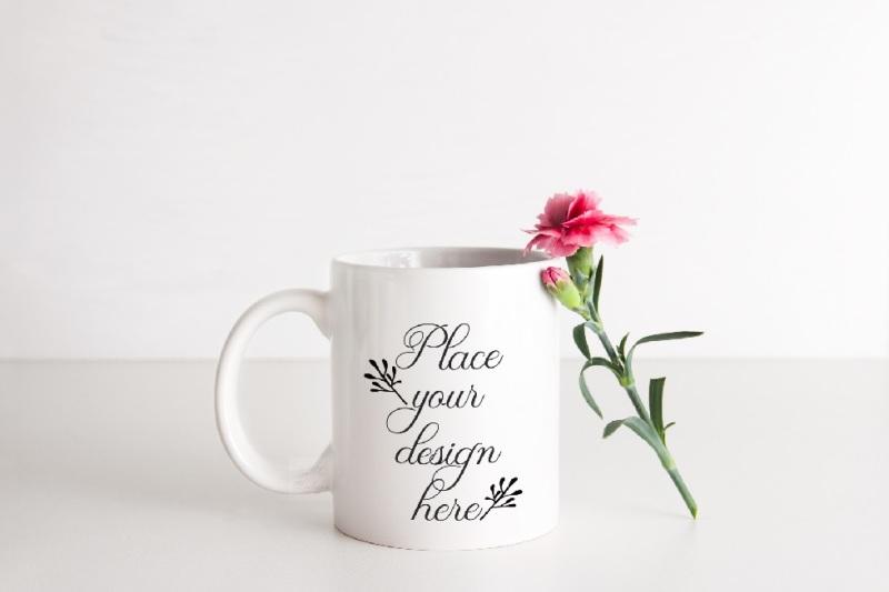 Free Coffee mug mockup white cup mock up psd smart feminine floral mockups (PSD Mockups)