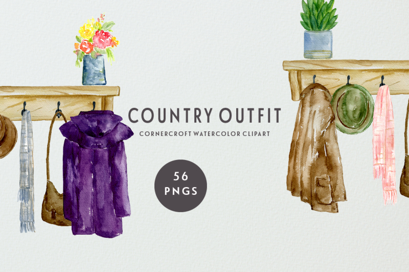 watercolor-country-coats-and-country-boots