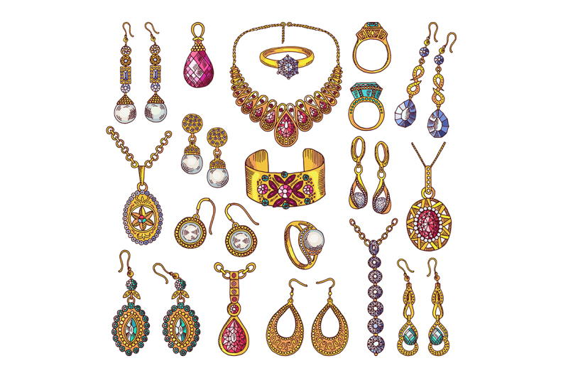 colored-hand-drawn-pictures-of-luxury-vintage-jewelry