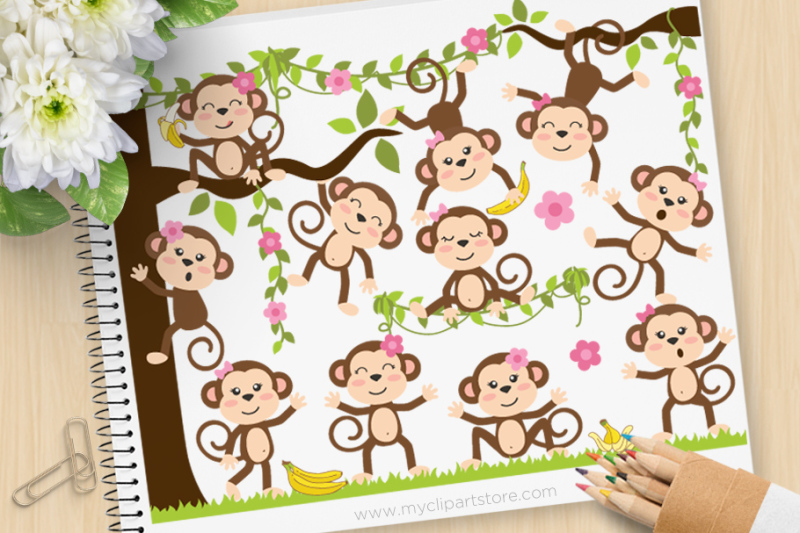 monkey-girls-vector-svg-clip-art