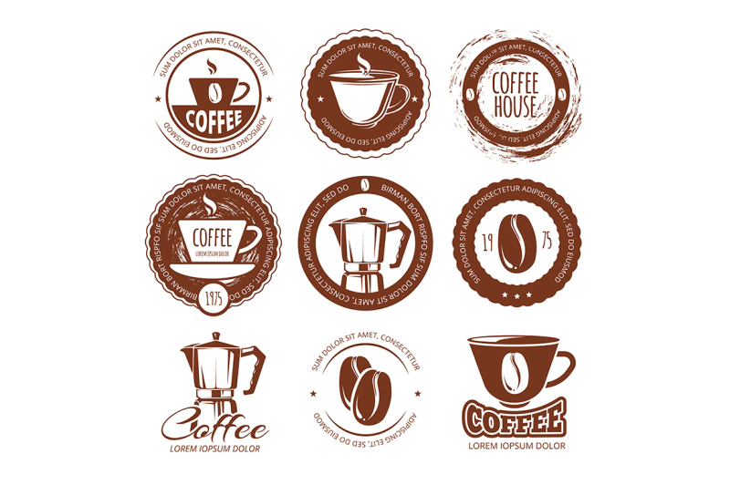 vector-illustration-of-vintage-coffee-labels-and-badges-logo-cafe