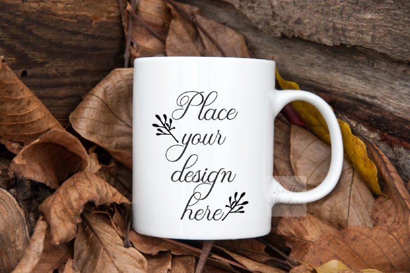 Free Autumn fall coffee mug mockup white cup mock up psd september mockups (PSD Mockups)