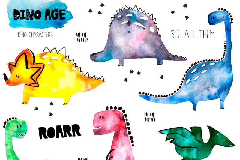 dino-age-watercolor-childish-set
