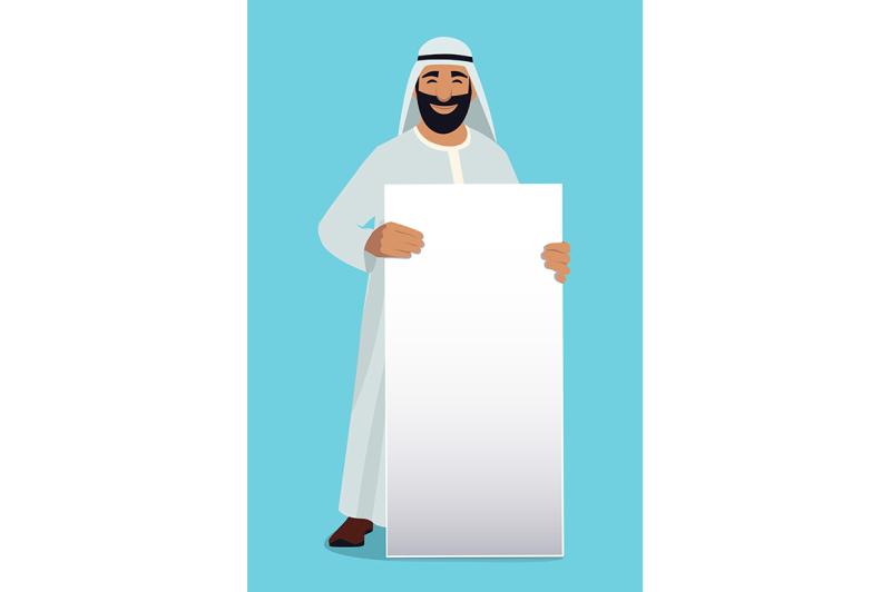 empty-white-banner-in-hands-of-arabic-businessman