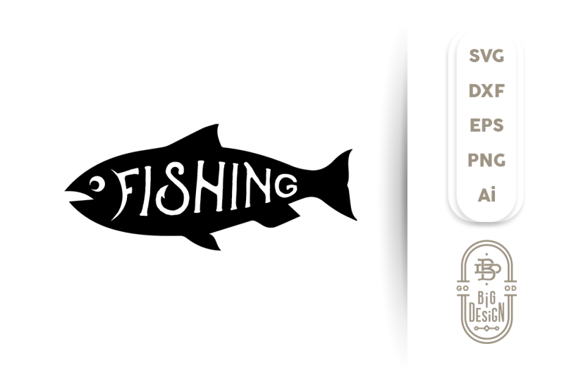 Svg Cut File Fishing Fish Silhouette By Big Design Thehungryjpegcom