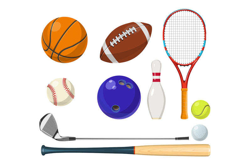 vector-sports-equipment-in-cartoon-style
