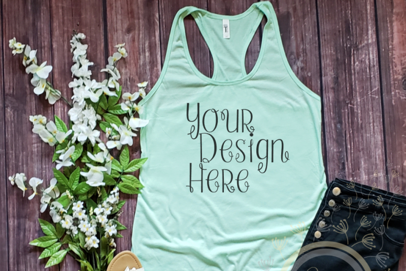 Free Next Level 1533 Mint Racerback Tank Top Mock Up (PSD Mockups)